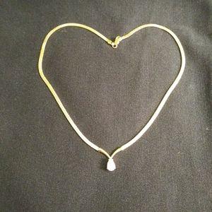 Diamonique tear drop & pyrite gold necklace